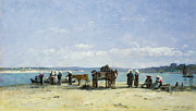 Horse-drawn Framed Prints - The Breton Fishermens Wives Framed Print by Eugene Louis Boudin