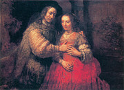 Rembrandt Paintings - The Bridal Couple by Rembrandt Van Rihn