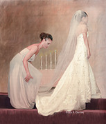 Maid Of Honor Prints - The Bride and her Maid of Honor Print by Angela A Stanton