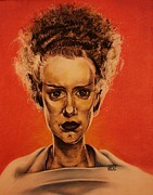 Frankenstein Drawings Prints - The Bride of Frankenstein Print by Brent Andrew Doty