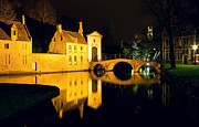 Nightime Prints - The Bridge and the Convent entrance in Bruges Print by Kiril Stanchev