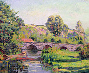 River Banks Framed Prints - The Bridge at Boigneville Framed Print by Jean Baptiste Armand Guillaumin