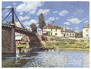Alfred Posters - The Bridge at Villeneuve-la-Garenne Poster by Alfred Sisley