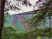 Cabin Wall Digital Art Prints - The Bridge - New River Gorge Print by Paulette Wright