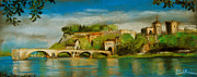 D Pastels Posters - The Bridge Of Avignon Poster by EMONA Art