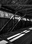 Covered Bridges Photos - The Bridge Timbers bw by Mel Steinhauer