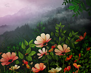 Foggy Morning Digital Art - The Brighter Side Of The Dark Mountains by Bedros Awak