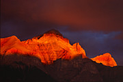 Rundle Prints - The Brilliance Of Light Mount Rundle Banff Print by Bob Christopher