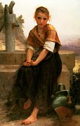 Young Lady Digital Art Prints - The Broken Pitcher Print by William Bouguereau