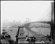 Nyc Digital Art Metal Prints - The Brooklyn Bridge 1902 Metal Print by Digital Reproductions