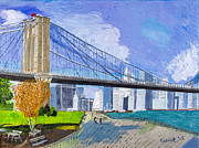 Brooklyn Bridge Prints - The Brooklyn Bridge by Stan Bialick Print by Sheldon Kralstein