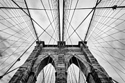 Black-and-white Metal Prints - The Brooklyn Bridge Metal Print by John Farnan