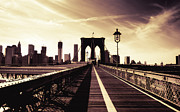Nyc Skyline Framed Prints - The Brooklyn Bridge - New York City Framed Print by Vivienne Gucwa