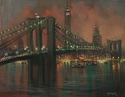 City At Night Paintings - The Brooklyn Bridge by Tom Shropshire