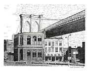 Brooklyn Bridge Drawings Posters - The Brooklyn Side Poster by Paul Kmiotek