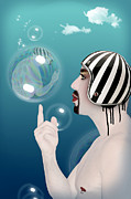 Caricature Digital Art Posters - the Bubble man Poster by Mark Ashkenazi