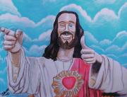 Funny Pastels Framed Prints - The Buddy Christ Framed Print by Jeremy Moore