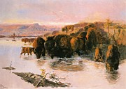 Western Western Art Framed Prints - The Buffalo Herd Framed Print by Charles Russell