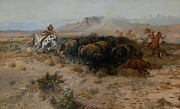 Western Western Art Framed Prints - The Buffalo Hunt Framed Print by Charles Russell