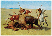 Early American Prints - The Buffalo Hunt Print by Frederic Remington