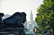 Benjamin Franklin Parkway Prints - The Buffalo Statue on the Parkway Print by Bill Cannon