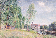 Signed Metal Prints - The Builders Yard at Matrat Moret-sur-Loing Metal Print by Alfred Sisley