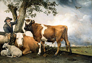 Mammals Digital Art Prints - The Bull  Print by Paulus Potter