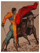 Bull Tapestries - Textiles Framed Prints - The Bullfighter Framed Print by Bonnie Nash