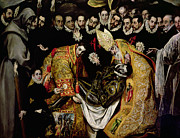 Religious Art Painting Prints - The Burial of Count Orgaz from a legend of 1323 detail of a young page Print by El Greco Domenico Theotocopuli