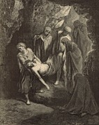 Bible Drawings Prints - The Burial of Jesus Print by Antique Engravings