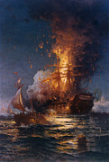 Vintage Images Prints - The Burning of the Philadelphia Print by Edward Moran