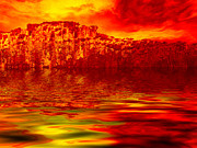 Hill Country Digital Art Prints - The Burning Zone Print by Wendy J St Christopher