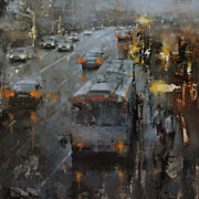 Architecture Painting Posters - The Bus Stop Poster by Tibor Nagy
