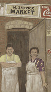Grocery Drawings - The Butcher and His Wife  by Arlene Crafton