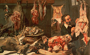Food And Drink Paintings - The Butchers Shop by Frans Snyders
