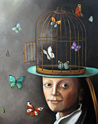 Cage Painting Metal Prints - The Butterfly Keeper 1 Metal Print by Leah Saulnier The Painting Maniac