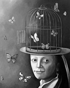Cage Painting Metal Prints - The Butterfly Keeper BW Metal Print by Leah Saulnier The Painting Maniac