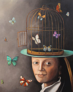 Cage Painting Metal Prints - The Butterfly Keeper edit 2 Metal Print by Leah Saulnier The Painting Maniac