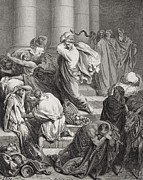 Whipping Prints - The Buyers and Sellers Driven Out of the Temple Print by Gustave Dore
