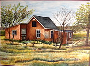 Badlands Painting Originals - The Cabin at the Badlands by Susan Kronowitz