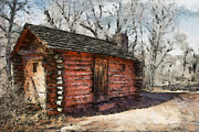 Log Cabin Art Digital Art Posters - The Cabin Poster by Ernie Echols