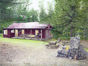 Cabin Drawings - The Cabin in the Woods by Albert Puskaric
