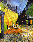 Place Du Forum Framed Prints - The Cafe Terrace on the Place du Forum Framed Print by Vincent van Gogh