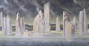 Spooky Painting Metal Prints - The Callanish Legend Isle of Lewis Metal Print by Evangeline Dickson