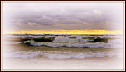 Sunset After A Storm Posters - The Calm Is Comming   After The Storm On Lake Michigan Poster by Rosemarie E Seppala