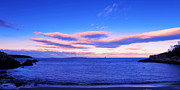 Park Scene Digital Art Prints - The calm ocean with sunset clouds Print by Paul Ge