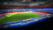 Pitch Posters - The Camp Nou stadium in Barcelona Poster by Michal Bednarek