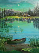 Trees Reflecting In Water Painting Posters - The Canoe is Ashore Poster by Jan Mecklenburg