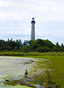 Lighthouse Digital Art - The Cape May Lighthouse  by Bill Cannon