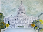 Washington Dc Drawings Framed Prints - The Capitol Hill Framed Print by Eva Ason
